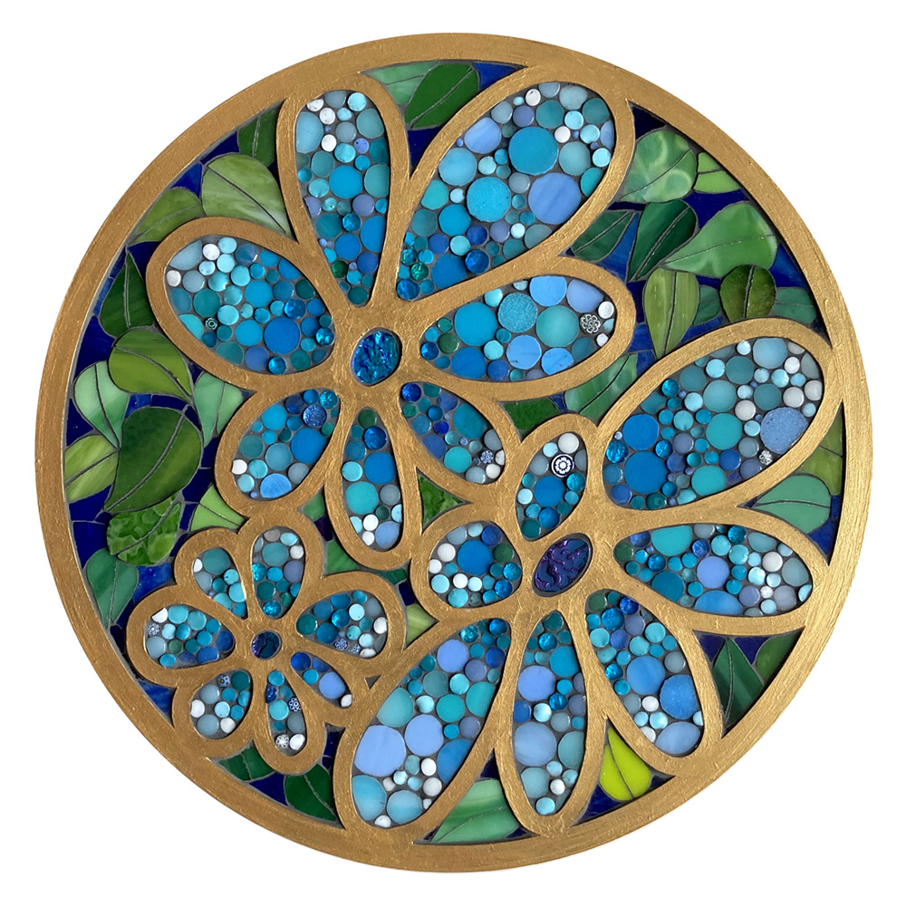 Blue cloisonné flowers